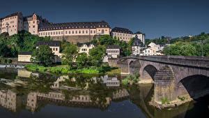 Картинка Германия Дома Реки Мост Замок Weilburg, Hessen