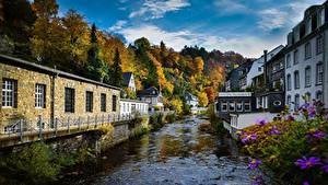 Фотографии Германия Здания Реки Дерево Monschau город