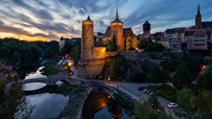 Картинка Германия Здания Дороги Речка Мост В ночи Bautzen