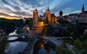 Картинка Германия Здания Дороги Речка Мост В ночи Bautzen город