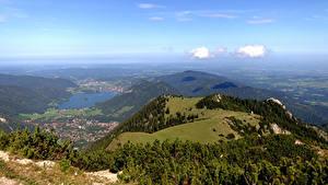 Картинка Германия Озеро Лес Бавария Холм Сверху Schliersee Природа