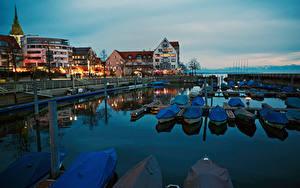 Картинки Германия Озеро Причалы Лодки Здания Lake Constance, Friedrichshafen