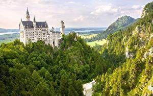 Картинка Германия Гора Замки Нойшванштайн Бавария Природа
