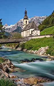 Обои Германия Горы Церковь Реки Мосты Бавария Альпы Berchtesgadener