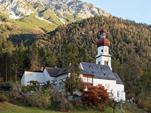 Фотография Германия Гора Лес Осень Церковь Benefizialkirche hl. Martin, Forest Grace Природа