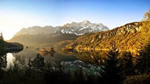 Фото Германия Гора Лес Озеро Бавария Дерево Eibsee Природа
