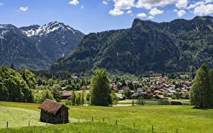 Картинка Германия Гора Здания Бавария Дерево Oberammergau