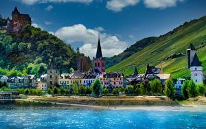 Картинка Германия Гора Дома Реки Замок HDRI Bacharach, Stahleck castle