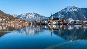Фотографии Германия Гора Озеро Бавария Tegernsee, Rottach-Egern город