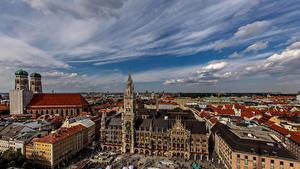 Фото Германия Мюнхен Здания Собор Небо Башня Frauenkirche Cathedral