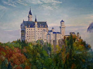 Фотография Германия Нойшванштайн Замки Рисованные Бавария