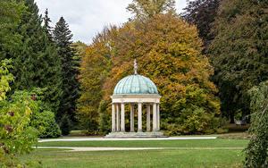 Обои для рабочего стола Германия Парки Осенние Газон Деревьев Лист Bad Pyrmont, Kurpark Природа