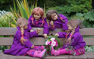 Картинка Парки Букеты Кукла Девочки Скамья Сидя Grugapark Essen Природа
