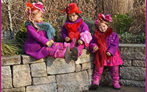 Фотография Парки Куклы Девочки Втроем Шляпы Grugapark Essen Природа