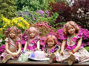 Обои Германия Парки Куклы Девочка Шляпы Четыре 4 Grugapark Essen Природа