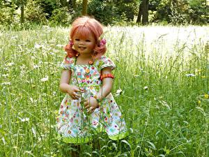 Фотография Германия Парк Куклы Девочки Платья Траве Grugapark Essen Природа