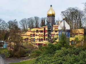 Обои Германия Парки Здания Дизайна Essen Grugapark Города