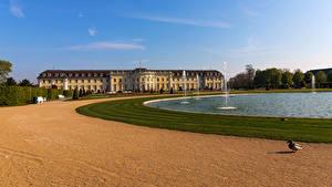 Обои для рабочего стола Германия Парк Пруд Фонтаны Дворца Ludwigsburg Palace Города