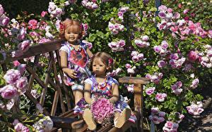 Обои для рабочего стола Германия Парк Роза Букеты Гортензия Кукла Девочка 2 Скамья Grugapark Essen Природа
