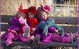 Фотографии Парки Розы Кукла Три Девочка Скамья Grugapark Essen