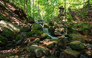 Фотография Германия Парк Камень Мха Ручеек Stecklenberg Природа