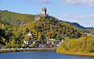Фотографии Германия Речка Осенние Замок Кохем Холм river Moselle, Reichsburg castle