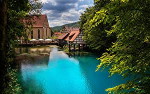Картинка Германия Река Дома Blautopf in Blaubeuren