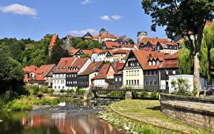 Обои Германия Речка Здания Бавария Kronach