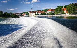Фотография Германия Речка Здания Бавария Landsberg, Lech river
