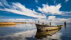 Обои Германия Небо Лодки Море Облачно Rügen Природа