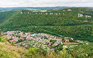 Обои для рабочего стола Германия Городки Дома Леса Сверху Honau Города