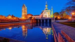 Фотография Германия Храмы Церковь Плавательный бассейн Ночные Уличные фонари Darmstadt Города