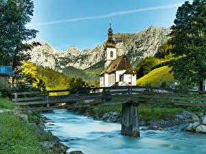 Фото Германия Храмы Церковь Реки Мост Бавария Ramsau город