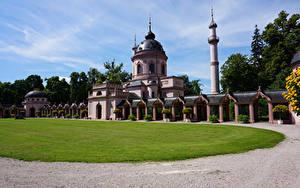 Обои Германия Храм Мечеть Газон Mosque in Schwetzingen Palace