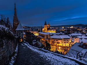 Обои Германия Зимние Здания Вечер Ночные Esslingen