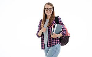 Фотография Жест Студентка Улыбается Книга Рубашке Очков Смотрит Белый фон молодая женщина