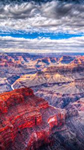 Фото Гранд-Каньон парк США Парк Облака Скала Природа