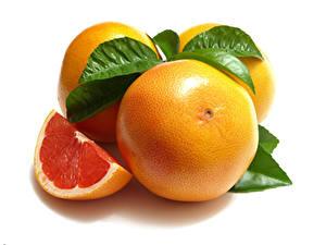 Обои Грейпфрут Крупным планом Белым фоном Часть Листва Пища
