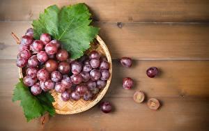 Картинки Виноград Ягоды Листва Поднос