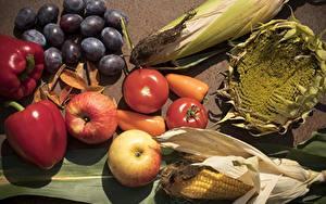 Картинка Виноград Перец Кукуруза Подсолнухи Яблоки Томаты Продукты питания