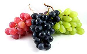 Обои Виноград Белом фоне Разноцветные