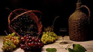 Обои Виноград Вино Натюрморт Кувшины Корзинка Бокалы Продукты питания
