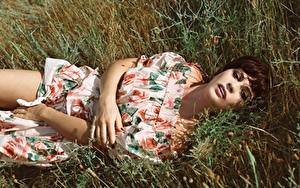 Обои Траве Шатенка Лежа Платье Рука Смотрит девушка