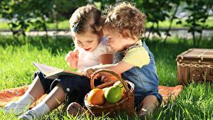 Фотографии Траве Двое Сидящие Корзинка Девочки Книга Пикник ребёнок