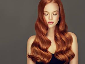 Картинка Серый фон Рыжие Волосы Красивая Причёска молодые женщины