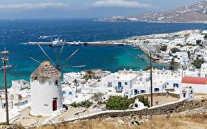 Фотографии Греция Берег Здания Пристань Fournakia, Mykonos