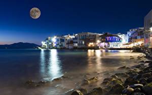 Фотографии Греция Берег Здания Ночные Луны Залива Mykonos island город