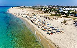 Картинка Греция Побережье Здания Море Песок Пляже Naxos City Природа
