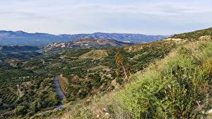 Фотографии Греция Поля Холмы Трава Crete Природа