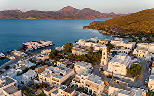 Фотографии Греция Здания Причалы Залив Сверху Adamas, Milos